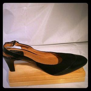 Clarks Artian Black Leather Suede Slingback Heels